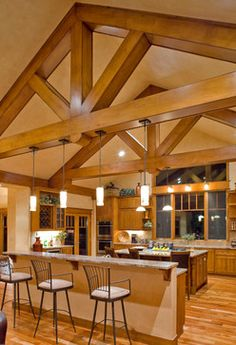Rustic Home Design, Dream Home Design, House Design, Barn House Kits, Wood Truss, Timber House, Industrial House, Kit Homes, Rustic Kitchen