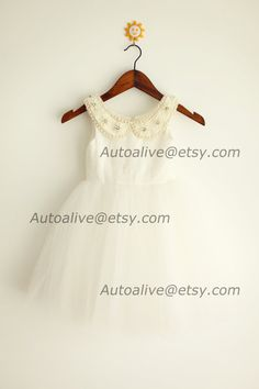 92cc846bd92 Peter Pan Collar Lace Tulle Flower Girl Dress by autoalive on Etsy