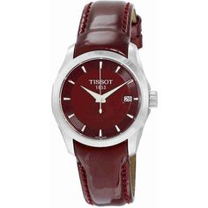 Tissot Couturier Burgundy Dial Ladies Watch ($195) ❤ liked on Polyvore featuring jewelry, watches, analog watches, tissot watches, water resistant watches, quartz movement watches and analog wrist watch