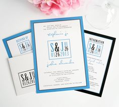Modern Wedding Invitations in Blue and Black