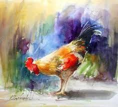 Chicken Painting, Chicken Art, Art Amour, Rooster Art, Art Watercolor, Galo, Art Courses, Art Et Illustration, Bird Art