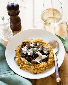 Pumpkin Quinoa Risotto with Sage and Cremini Mushrooms | HelloNatural.co