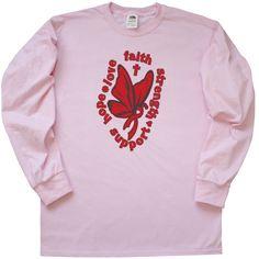 Blood Cancer Hope Love Faith Butterfly Long Sleeve T-Shirt - Pink | Awareness Ribbon Shirts at Gifts4Awareness.Com