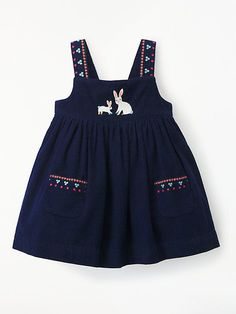 Buy John Lewis & Partners Baby Cord Bunny Dress, Navy from our Baby & Toddler Dresses & Skirts range at John Lewis & Partners. Girls Frock Design, Baby Dress Design, Baby Girl Dress Patterns, Toddler Girl Style, Toddler Dress, Toddler Outfits, Kids Outfits, Frocks For Girls, Kids Frocks