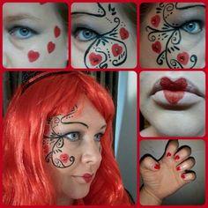 Queen of hearts make-up. Face paint. Diy. Hartenkoningin schminken. Carnaval. Carnival. Halloween. Costume. Outfit.