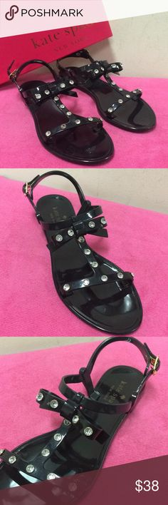 Kate Spade Sandals Kate Spade BRAND NEW WITH TAG cute black ribboned  gel sandals with rhinestones.  Size 7 kate spade Shoes Sandals