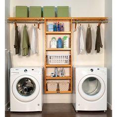 John Louis 12in. Deep Solid 10ft. Laundry Organizer – Honey Maple Finish