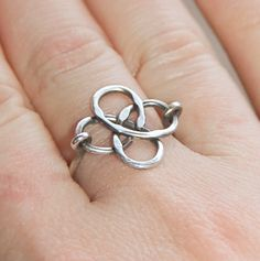 Items similar to Celtic Knot Ring, Sterling Silver, Oxidized, Wire Jewelry on Etsy Diy Jewelry Rings, Wire Rings, Wire Jewelry, Beaded Jewelry, Jewelry Accessories, Jewelry Making, Jewlery, Celtic Knot Ring, Celtic Rings