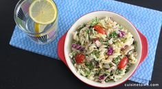 Healthy tuna macaroni salad with Greek yogurt