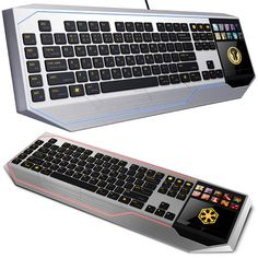 Star Wars Keyboard With LCD Touchpad:  Not only does it look like it comes from the Star Wars universe, it also has a lot of cool features such as: 10 dynamic adaptive tactile keys, and a multi-touch full-color LCD track-panel. It will give you a great edge in Star Wars:The Old Republic that's for sure. The multi-touch full-color LCD track-panel can be set to respond to direct gesture input or display interactive information too. Grab this awesome keyboard for $259.99 from Thinkgeek.com