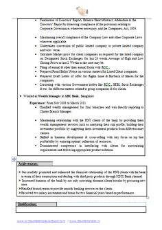 Resume Sample of a Chartered Accountant & Company Secretary in ...