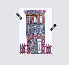 """NOLA Townhouse - Illustration  Paper Size: 10"""" x 14"""" Signed  New Orleans style TOWNHOUSE. These are one of the most common architectural style homes that populate the city.  This is an American style townhouse, but in New Orleans there are American and Creole style. Be on the look at the shop for our Creole Townhouse sooooon!  Get your own bit of New Orleans for your home"""