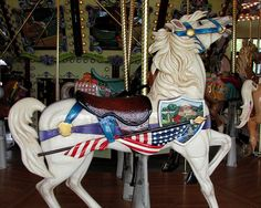 one of the beautiful carousel horses (hand carved) at the riverfront park in salem, oregon