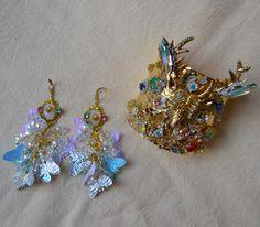 "Abominabilis Tempus' Baroque Kitsch huge bracelet cuff & earrings "" Silver Hoof """