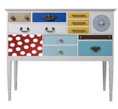How fun! Colorful, patterned. Ideas for painting furniture...