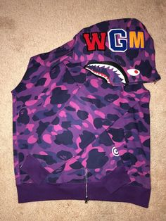 d6d66c731 Bathing Ape purple camo full zip shark hoodie with tags #fashion #clothing  #shoes
