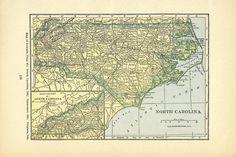 NORTH CAROLINA -1920s Antique Map Print, Wall Decor, Atlas, Art Illustration to Frame, Book plate, Map, Small Print via Etsy