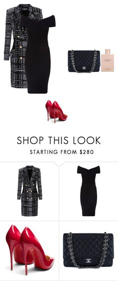 """""""Nora - Restaurant"""" by norina524 ❤ liked on Polyvore featuring Balmain, Maje, Christian Louboutin, Chanel and Gucci"""