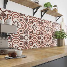 Décorez sa cuisine, avec un carrelage effet carreaux de ciment rouge