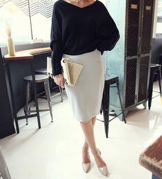 dolman top . pencil skirt