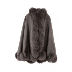 Jayley Grey Hooded Cashmere Cape | Fox Fur Cape