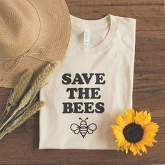 Save the Bees Tee Unisex Shirt Womens and by MagnoliaRootsCo || graphic tee || t-shirt slogan || inspirational tee || screenprint || casual outfit inspiration || flat lay apparel photography
