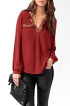 Pleated Contrast Trim Top