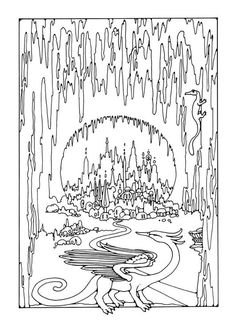 Coloring page cave city - coloring picture cave city. Free coloring sheets to print and download. Images for schools and education - teaching materials. Img 25610.