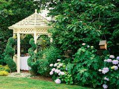 gazebo design and flowering plants