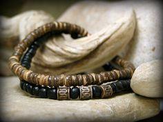 Mens Beaded Bracelet, Black Brown Wood Bracelet Set for Men by StoneWearDesigns