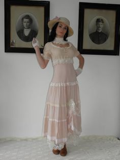 Shabby Chic Dress powder pink antique laces and by Gondalicious