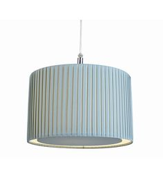 Pleated Duck Egg Blue Ceiling Pendant Lampshade with Diffuser Insert