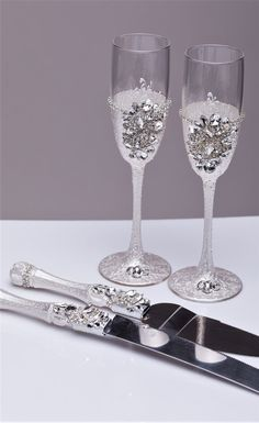Wedding Gles And Cake Server Set Knife Cutting Toasting Flutes Champagne Of 4