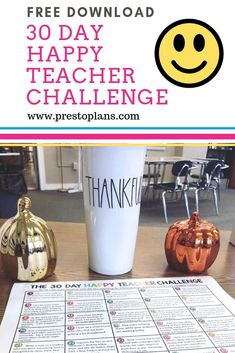 FREE DOWNLOAD: THE 30 DAY HAPPY TEACHER CHALLENGE is designed to help you connect with students, build staff rapport, organize your school life, keep yourself healthy, and help you focus on the positive! Let's face it; teaching can be stressful. It is so easy to fall in the trap of focusing on the negative, but doing that only gives you more stress! These ideas will help you be a little bit happier. Use #happyteacherchallenge to share on social media! #teacherfreebie #freeteacherdownload
