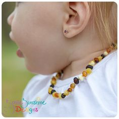 Baby Amber Necklace - Raw Amber Teething Jewelry - Child's Amber Necklace on Etsy, $16.75 CAD