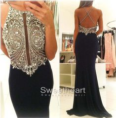 A-line round neck sequin long black prom dress for teens, evening dress, modest prom dress long