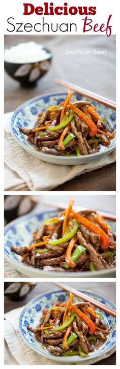 Szechuan Beef - easy and delicious beef stir-fried with red and green bell peppers, in a mildy spicy savory sauce, so yummy! | rasamalaysia.com