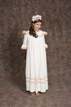 $15.00 Costume Rental  Pirates Nightgown Orange  white nightgown w/orange trim