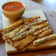 Zucchini & Squash fries with a tomato basil dipping sauce by Peter Block