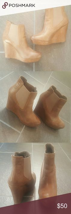 Leather Seychelles Wedge Booties Real leather wedges, like new Seychelles Shoes Ankle Boots & Booties
