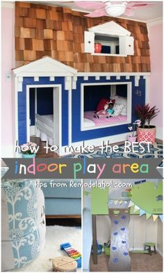 Awesome ideas for an indoor playroom -- that bunk bed is amazing! #spon