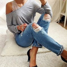 Grey sweater Ripped blue jeans