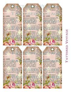 Tattered Vintage Tags Vintage Tags, Vintage Labels, Vintage Ephemera, Vintage Prints, Printable Labels, Printable Paper, Free Printables, Card Tags, Gift Tags