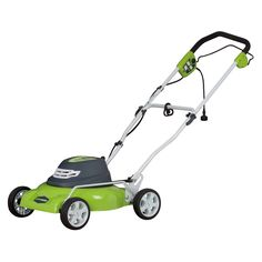 The GreenWorks 12-amp 2-in-1 Corded 18 inch Mower features side discharge and…