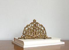 Vintage Brass Mail Holder Scrolled Design Desk by ModRendition