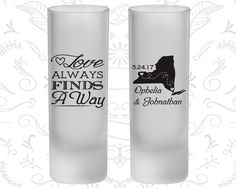 Love Always find a way, Frosted Tall Shot Glasses, State to State, State, Destination (472)