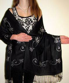 Black & Silver Evening Shawl Exceptional a hand crafted original shawl wrap to fulfill that stylish crave in women.