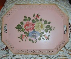 20 Off Sale    Vintage Hand Painted Tole Tray Pink by CissysCrafts, $35.00
