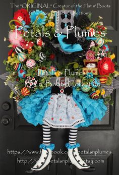 """PRE-ORDER- """"Alice in Wonderland"""" Wreath- an Original Creation by Petals & Plumes (SEE Production time for 2015 Delivery)"""