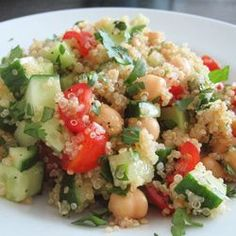 Tabouleh is a Middle Eastern salad made with cous cous or bulgur, tomatoes, cucumber, and fresh herbs like parsley and mint. I substitute quinoa as the grain and add chickpeas to bump up the protein, transforming this side-dish into a substantial meal.